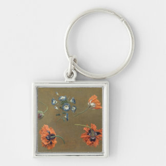 Poppies and Tradascanthus (oil on canvas) Key Ring