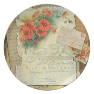Poppies & Antique Sheet Music Plate