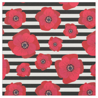 Poppies & Black Stripes - Seamless Pattern Fabric