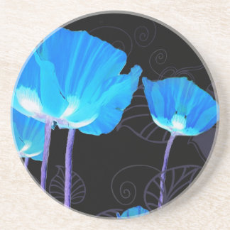 Poppies Blue Deco Beverage Coaster