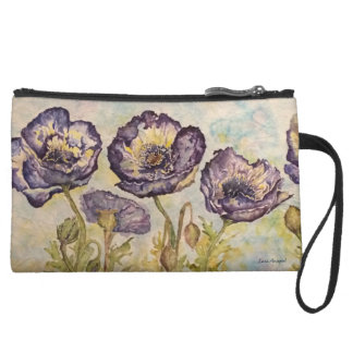 Poppies Blue Floral Art Sueded Mini Clutch