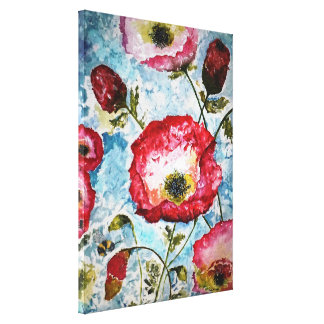 Poppies Bumblebee Watercolor Canvas Print 18x24