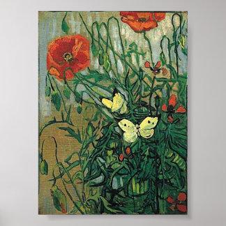 Poppies & Butterflies Van Gogh Fine Art Poster