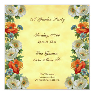 Poppies Custom Garden Party Square Invitations