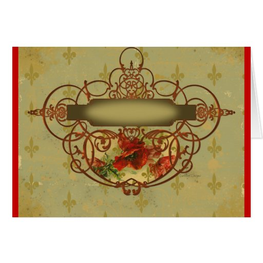 Poppies Fleur de Lis Victorian Style Greeting Cards