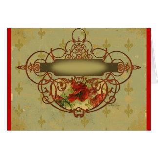 Poppies Fleur de Lis Victorian Style Greeting Card