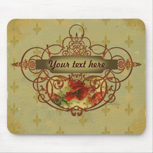 Poppies Fleur de Lis Victorian Style Mouse Pad