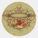 Poppies Fleur de Lis Victorian Style Round Sticker