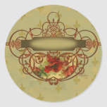 Poppies Fleur de Lis Victorian Style Round Stickers