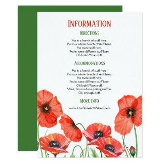 Poppies Floral Wedding Information Details Card
