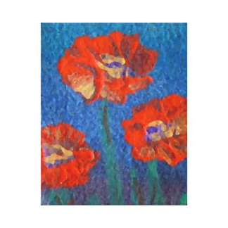 Poppies Garden Floral Flowers Artwork Watercolor Stretched Canvas Print