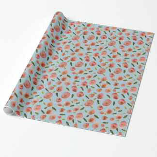 Poppies Hand-Painted Watercolors in Pink on Blue Wrapping Paper