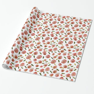 Poppies Hand-Painted Watercolors in Pink on White Wrapping Paper