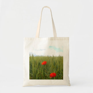 Poppies in a Wheat Field Budget Tote Bag