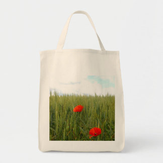 Poppies in a Wheat Field Grocery Tote Bag