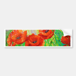 Poppies in sunlight bumper sticker