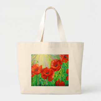 Poppies in sunlight large tote bag