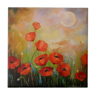 Poppies in the moonlight ceramic tile