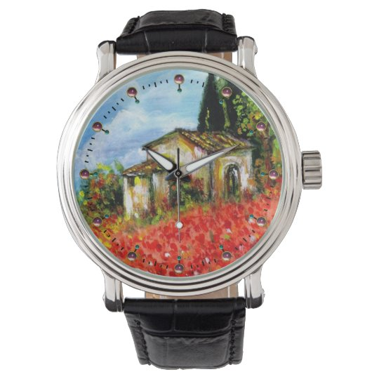 POPPIES IN TUSCANY LANDSCAPE WATCH