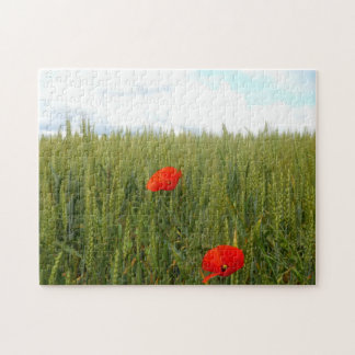 Poppies in Wheat Field Photo Puzzle with Gift Box