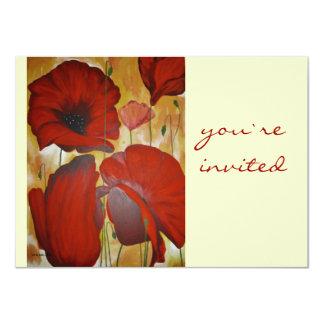 poppies- invited 4.5x6.25 paper invitation card