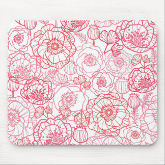 poppies line art pattern mouse pad
