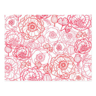 poppies line art pattern postcard