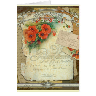 Poppies Memories and French Script Greeting Card