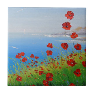 Poppies near the sea ceramic tile