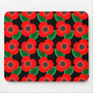 Poppies on Black Mousepad