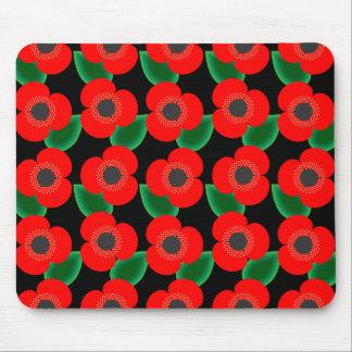 Poppies on Black Mousepad