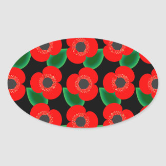 Poppies on Black Oval Stickers