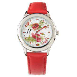 POPPIES Red White Floral Monogram Watch