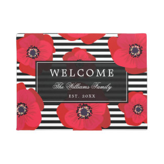 Poppies & Stripes  - Family Name - Welcome Doormat