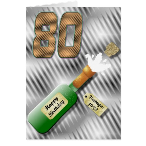 Popping Champagne Bottle 80th Birthday Card