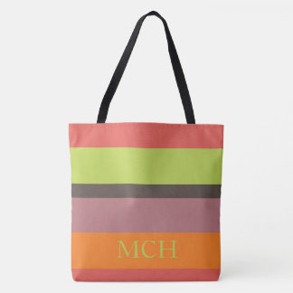 Popping Cupcakes Palette Stripe Monogram Tote Bag
