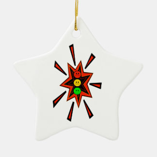 Popping Moody Stoplight Ceramic Star Decoration