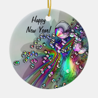 Popping the Cork - New Year Bubbles Round Ceramic Decoration