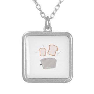 Popping Toast Square Pendant Necklace