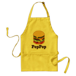 PopPop Grandpa Burger BBQ Grilling Gift Standard Apron