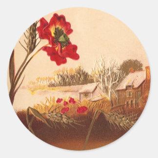 Poppy and Wheat Vintage Autumn Classic Round Sticker