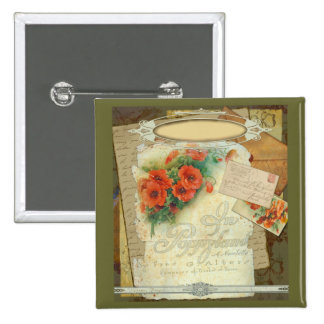 Poppy Antique Music Sheet Pastiche 15 Cm Square Badge