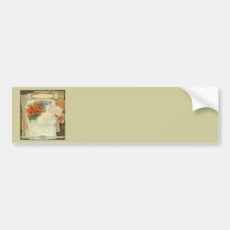 Poppy Antique Music Sheet Pastiche Bumper Sticker