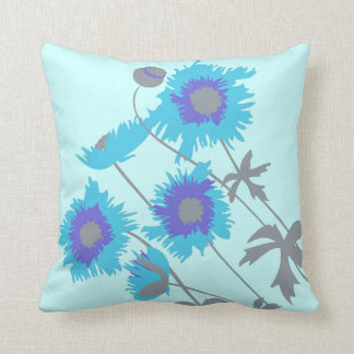 Poppy aqua blue purple grey throw pillow