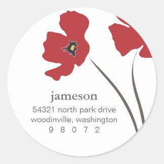 Poppy Blossom Round Address Label