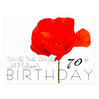 POPPY Collection 70th Birthday Save the Date Postcard