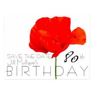 POPPY Collection 80th Birthday Save the Date Postcard