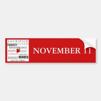 Poppy Day NOVEMBER 11 - Sticker Bumper Sticker