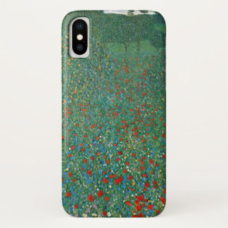 Poppy Field by Gustav Klimt, Vintage Art Nouveau iPhone X Case