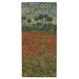 Poppy Field by Vincent Van Gogh Wood USB 2.0 Flash Drive